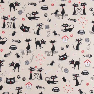 coton effet lin chat rouge et noir