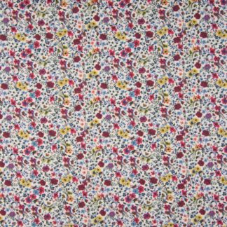 Coton fleurs rouges et jaunes