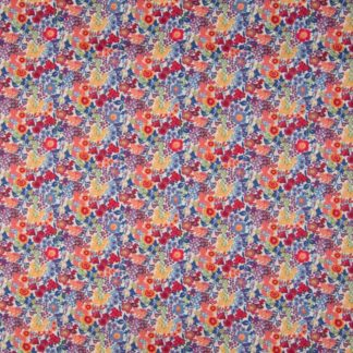coton fleurs rouges et bleues