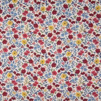 coton fleurs rouge et jaune