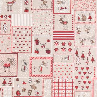 tissu coton effet lin Noël