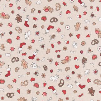 Tissu coton effet lin Noel biscuits